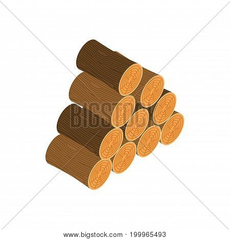 Woodpile Isolated. Wooden Log On White Background