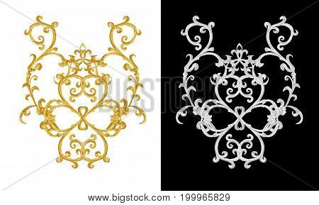 set of decorative elements. Shiny gold and silver curls Arabic motif arabesques. Isolated.