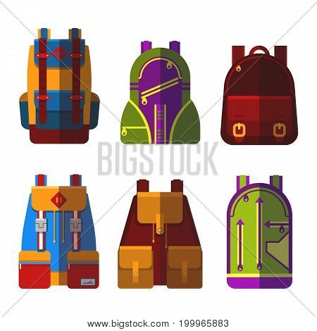 Set of isolated sport or school bag or rucksack, satchel or handbag, backpack or pack. Tourist baggage or travel luggage, student leather equipment with zipper. Journey and fashion theme