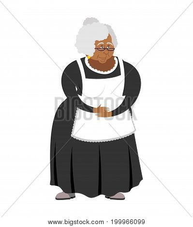 Old African-american Governess Isolated. Pedagogue Grandmother. Servant retired