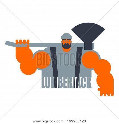 Woodcutter Logo. Lumberjack Sign. Lumberman Symbol. Feller With Beard And Axes.
