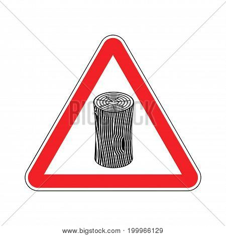 Log Attention Sign. Wooden Billet Caution. Road Red Warning Symbol