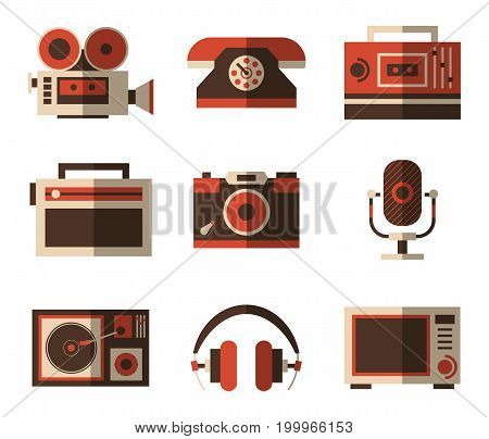 Old or vintage items for entertainment in tv and music, photography. Photo and video camera, retro dial phone and speaker, headphone, gramophone and microwave, sound radio player. Old technology theme