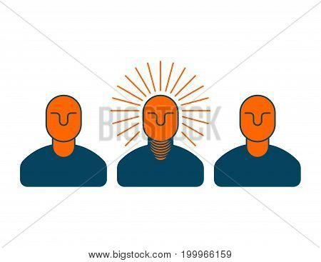 Creative Idea. Smart Boss. Man With Light Bulb In His Head. Bright Thoughts. Business Concept Icon