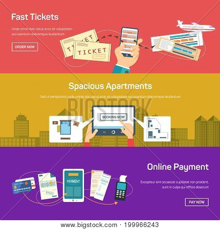 Banner for online apartment bookings or reservation, buy flight or plane tickets and internet payment via mobile phone or smartphone, using credit card. Banking and payment, travel and tourism theme
