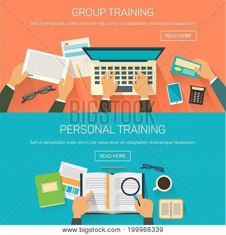 Group and personal training at office or business people conference with their hands on book and laptop, papers. Webinar or consulting teaching for manager or worker, people coaching, meeting, seminar