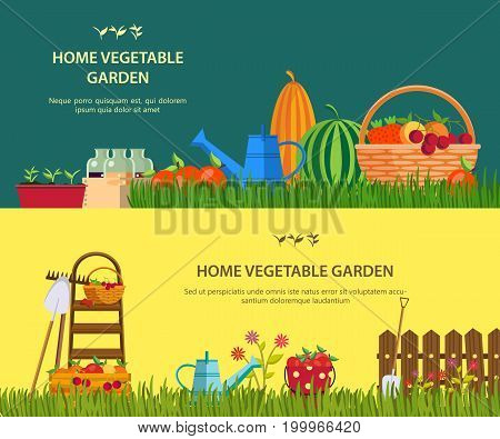 Vegetable garden items at grass. Watering can and shovel, rake and bottles with juice, cherry and grapes, apple and tomato, watermelon and pumpkin. Nature and gardening, agriculture farming theme