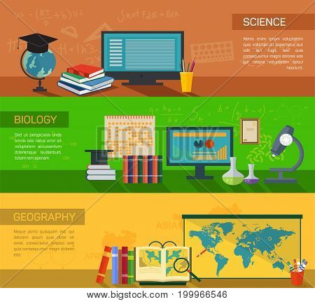 Science and modern methods of study biology, geography online with computers. Student electronic library for learning using technology. Digital courses or e-learning, school and knowledge theme