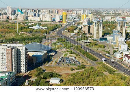 ASTANA, KAZAKHSTAN - SEPTEMBER 25, 2011: Aerial view to the city buildings in Astana, Kazakhstan.