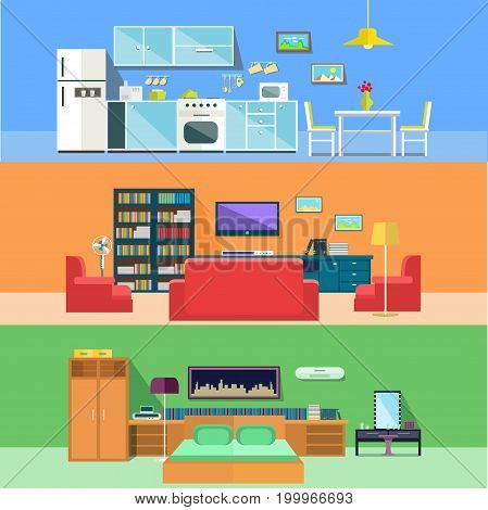 Apartments rooms with furniture interior view. Kitchen with stove and refrigerator or fridge, and hall with tv and sofa, lamp, bedroom with picture on wall and bed. Indoor architecture, domestic theme
