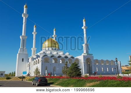 ASTANA, KAZAKHSTAN - SEPTEMBER 26, 2011: Exterior of the Nur Astana mosque in Astana, Kazakhstan. This mosque is the second largest in Kazakhstan.