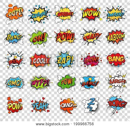 Comic speech bubbles or sound replicas for kaboom explosion, crash and wham, oops and oh, pow and boom bomb, snap and z-z-z, omg and angry argh. Onomatopoeia and exclamation theme