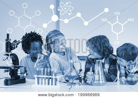 Illustration of chemical formulas against kids doing a chemical experiment in laboratory