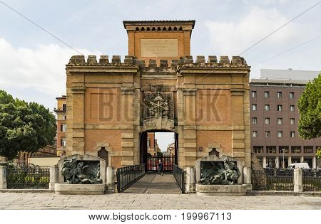 Frontal view of the Porta Galliera in Bologna. Italy