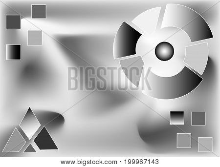 Abstract black and white background with black and white, gray diagrams. Parts of the whole, an illustration of the distribution of roles. Business, economics, development, components