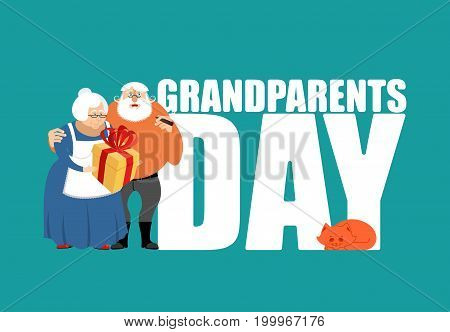 Grandmother And Grandfather. Grandparents Day Illustration. Mature Couple