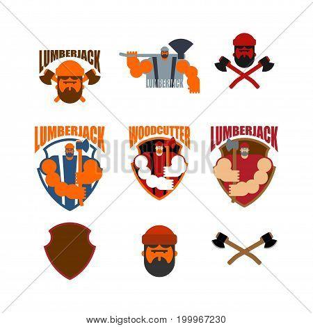 Woodcutter Logo Set. Lumberjack Sign. Lumberman Symbol. Feller With Beard And Axes.