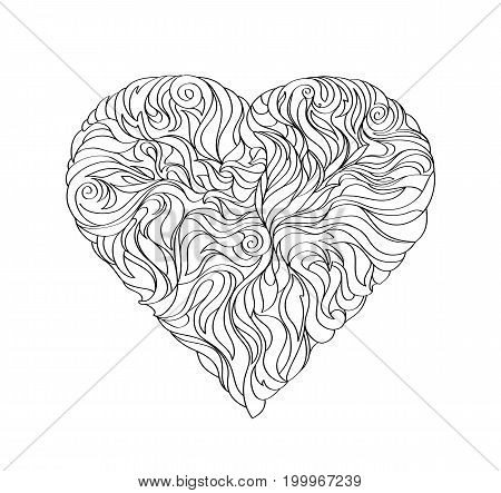 Black heart on white background black icon isolated abstract illustration design