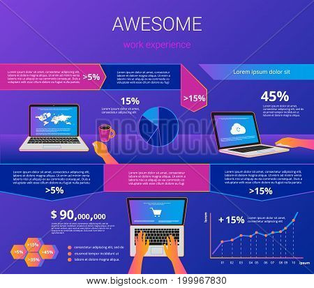 Infographic visualization of laptop usability. Gradient line vector illustration of human hands working with laptop for project presentation or e-commerce user experience with design elements.