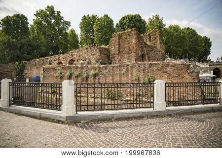 The ruins wall near Porta Galliera in Bologna Italy