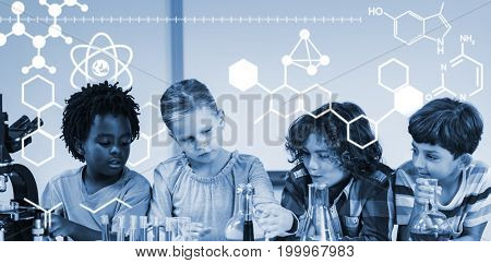 Digitally generated image of chemical structure against kids doing a chemical experiment in laboratory