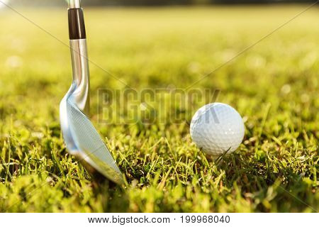 Close up of a golf club and a ball in green grass on a course
