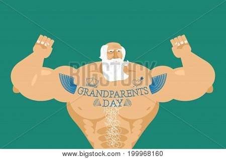 Grandparents Day. Strong Grandfather With Tattoos. Gray-haired Beard. Day Of Grandmother And Grandfa