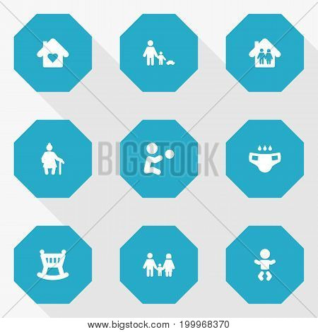 Collection Of Father With Son, Kid, Grandma Elements.  Set Of 9 Relatives Icons Set.