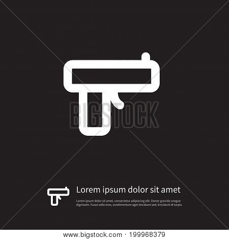 Handgun Vector Element Can Be Used For Handgun, Pistol, Gun Design Concept.  Isolated Pistol Icon.