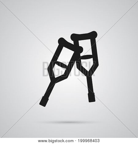 Vector Stand Element In Trendy Style.  Isolated Crutches Icon Symbol On Clean Background.