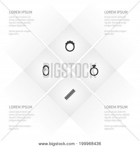 Icon Accessories Set Of Diamond, Round, Glass And Other Vector Objects
