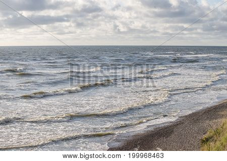 stormy coastline of Baltic sea by daytime