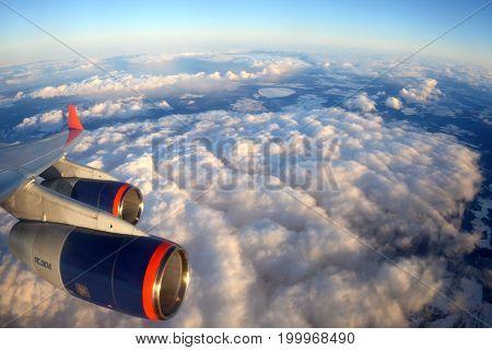 Moscow Region, Russia - March 20, 2014: Aeroflot Ilyushin IL-96-300 RA-96007 wing view.