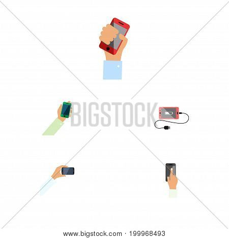 Flat Icon Touchscreen Set Of Keep Phone, Touchscreen, Smartphone And Other Vector Objects