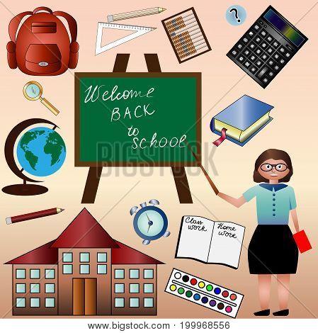 A set of return to school, teacher, calculator, globe, school, backpack, book, school board, pencil, paint. Autumn, school time