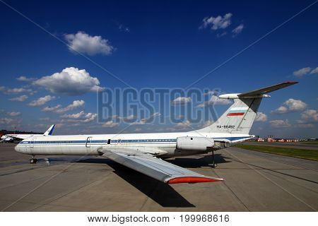 Sheremetyevo, Moscow Region, Russia - March 13, 2014: Former Aeroflot Ilyushin IL-62M RA-86492 standing at Sheremetyevo international airport.