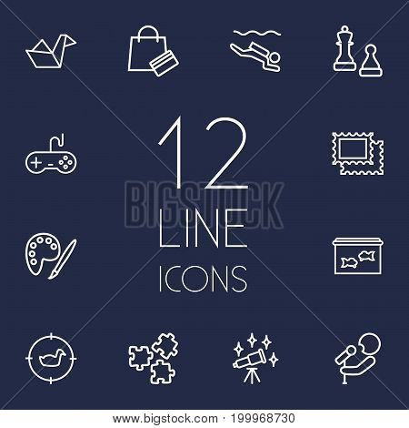 Collection Of Stamps, Hunting, Origami And Other Elements.  Set Of 12 Entertainment Outline Icons Set.