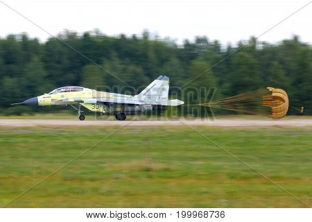 Zhukovsky, Moscow Region, Russia - July 18, 2014: Mikoyan MiG-29K 30 BLACK of russian navy performing test flight at Zhukovsky.