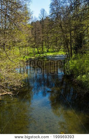 A hike in Altensteig, in the northern black forrest in the early spring along the river Nagold