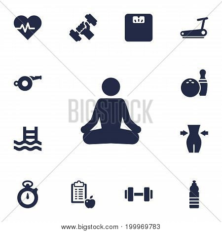 Collection Of Kegling, Basin, Meditate And Other Elements.  Set Of 13 Fitness Icons Set.