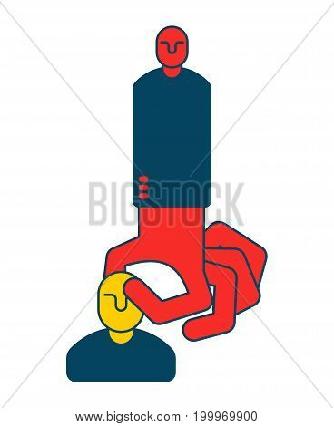 Boss Grabs An Employee. Hand Takes Manager. Choice Of Staff. Business Concept Symbol