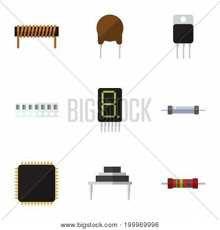 Flat Icon Technology Set Of Resistor, Cpu, Destination And Other Vector Objects