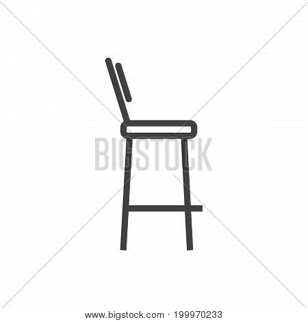 Vector Bar Stool Element In Trendy Style.  Isolated Chair Outline Symbol On Clean Background.
