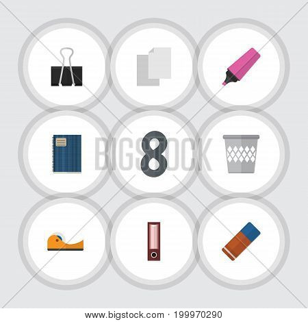 Flat Icon Equipment Set Of Dossier, Trashcan, Sticky And Other Vector Objects