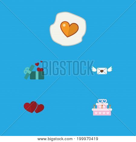 Flat Icon Heart Set Of Gift, Scrambled, Soul And Other Vector Objects