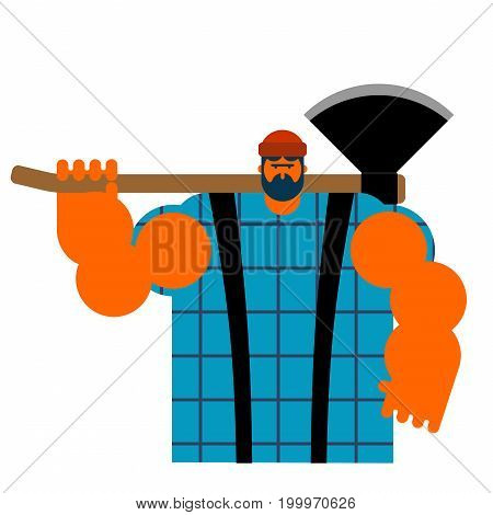 Lumberjack Strong Isolated. Woodcutter And Axe. Big Lumberman. Feller With Beard And Axes.