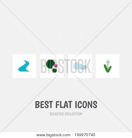 Flat Icon Ecology Set Of Lotus, Floral, Overcast And Other Vector Objects