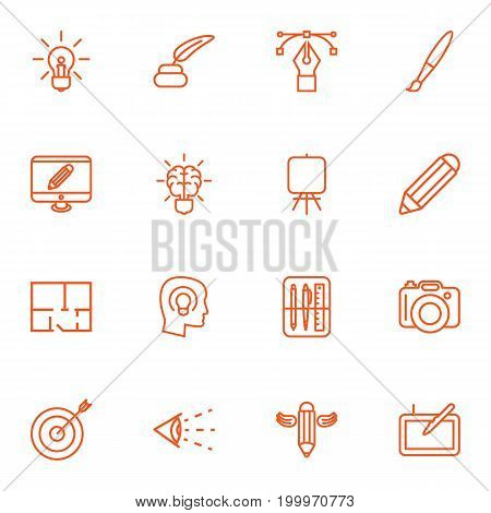Collection Of Idea, Pencil, Paintbrush And Other Elements.  Set Of 16 Constructive Outline Icons Set.