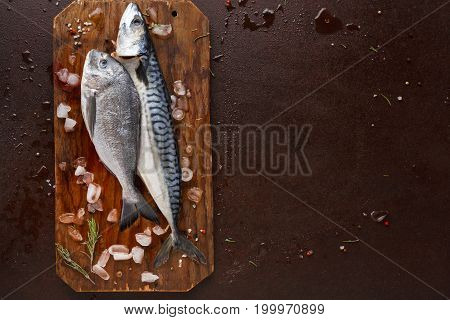 Seafood restaurant background. Fresh mackerel and dorado fish on wooden board on brown table. Organic cooking ingredients for healthy food. Top view, copy space