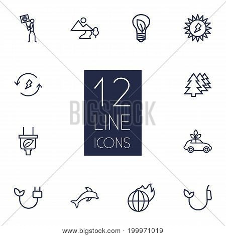 Collection Of Plug, Landscape, Global Warming Elements.  Set Of 12 Bio Outline Icons Set.